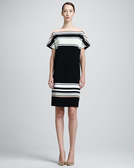 Color Block Stripe Matte & Sateen Milano Knit Bateau Neck Cap Sleeve Shift Dress