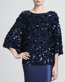 St. John Collection Sequin Blouse, Marine