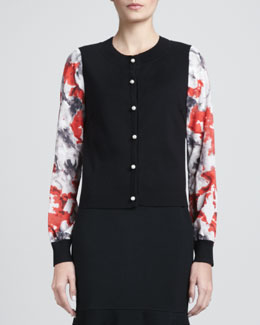 St. John Collection Floral-Sleeve Cardigan, Caviar/Multi