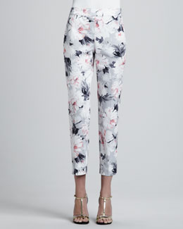 St. John Collection Petite Dahlia Print Stretch Cotton Sateen Side Zip Cropped Emma Pants, Oyster/Multi