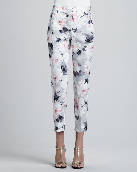 Petite Dahlia Print Stretch Cotton Sateen Side Zip Cropped Emma Pants, Oyster/Multi