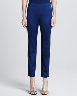 St. John Collection Stretch Venetian Wool Side Zip Cropped Emma Pants, Marine