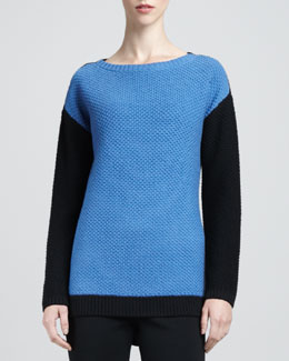 St. John Collection Long-Sleeve Colorblock Sweater, Pacific/Caviar