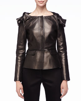 Burberry Prorsum Leather Knot-Shoulder Peplum Jacket