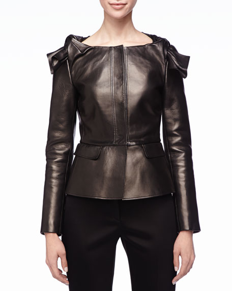 Leather Knot-Shoulder Peplum Jacket