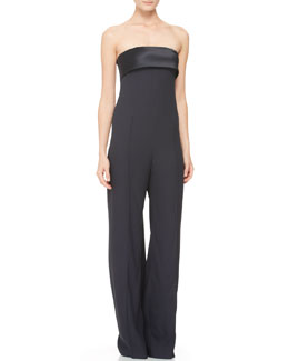 Adam Lippes Strapless Satin-Trim Jumpsuit, Ink
