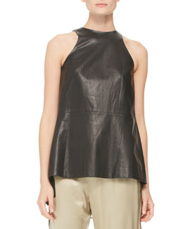 Adam Lippes Pleated Silk-Inset Leather Top, Black