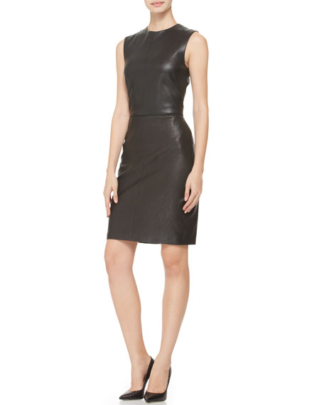 Sleeveless Stretch Leather Dress, Black