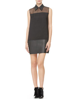 3.1 Phillip Lim Tuxedo Dress with Leather Hem, Black