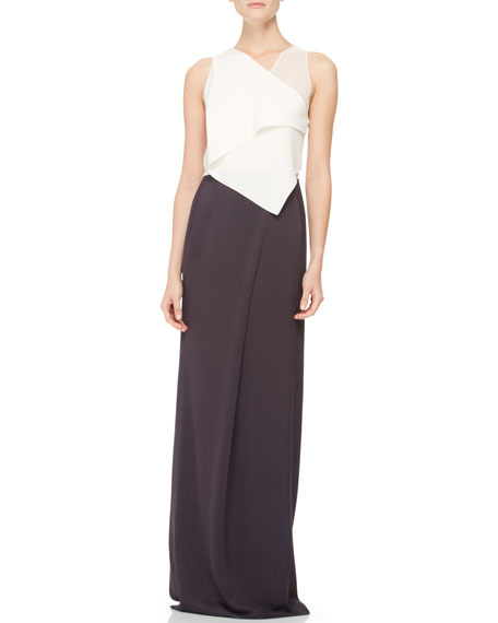 Drape-Front Gown, Ivory/Black