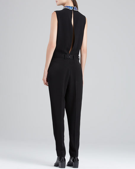 Sleeveless Jumpsuit with Draped Pants, Black