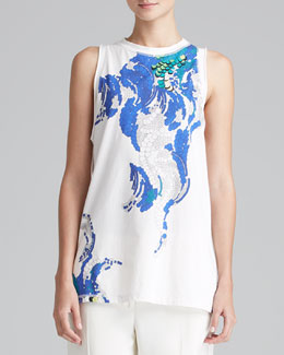 3.1 Phillip Lim Printed Muscle Tank, White/Multi