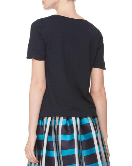 Short-Sleeve Knit T-Shirt, Navy