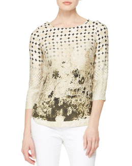 Piazza Sempione Mixed-Print Silk Top