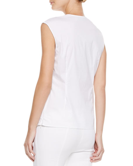 Piped V-Neck Top, Beige
