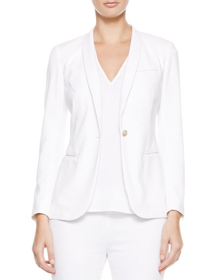 One-Button Shawl-Collar Jacket, White