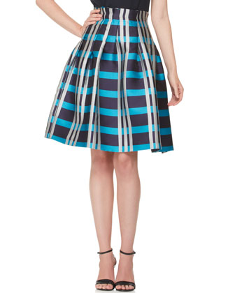 Macro Check Madras Skirt, Navy/Cobalt