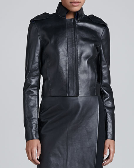 Zip-Front Cropped Leather Jacket, Black