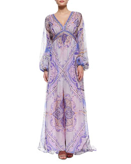 Emilio Pucci Beaded-Border Printed Caftan Maxi Dress