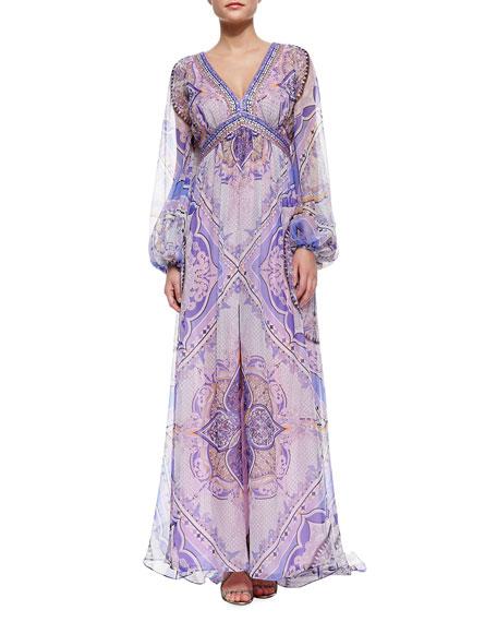 Beaded-Border Printed Caftan Maxi Dress
