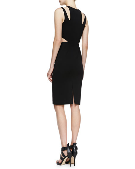 Cutout Compact Sheath Dress, Black