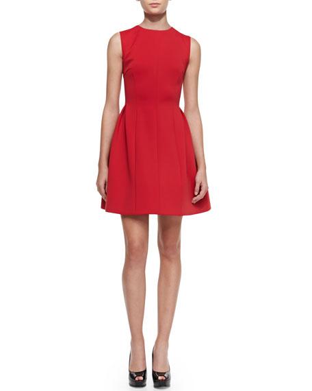 Sleeveless Full-Skirt Knit Dress