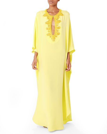 Long Beaded Keyhole Caftan