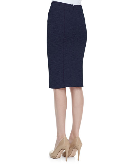 Tweed Pencil Skirt, Navy/Black