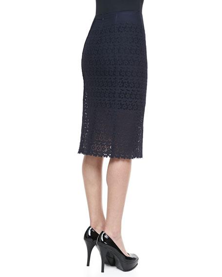 Eyelet Pencil Skirt, Navy
