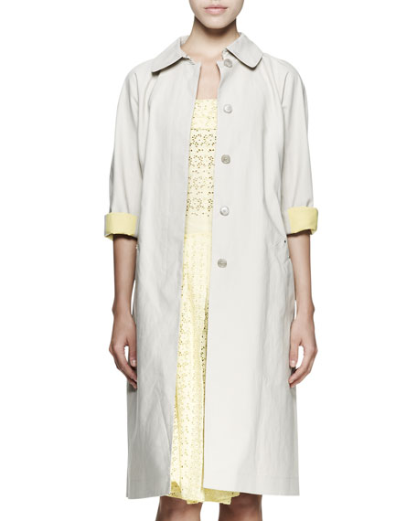 Contrast-Cuff Trenchcoat
