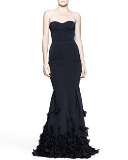 Nina Ricci Strapless Flower-Bottom Trumpet Gown