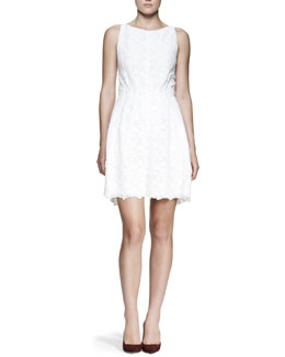 Nina Ricci Sheer-Back Sleeveless Lace Dress