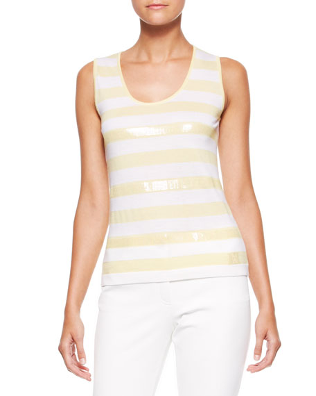 Sequin-Striped Tank, Canary/White