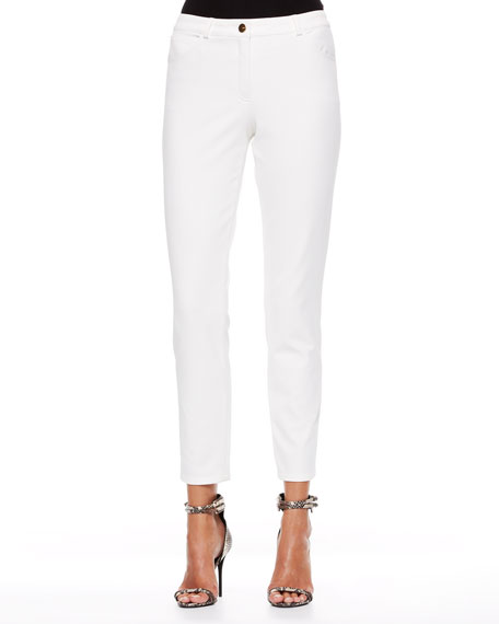 Escada Cropped Twill Pants, Off White