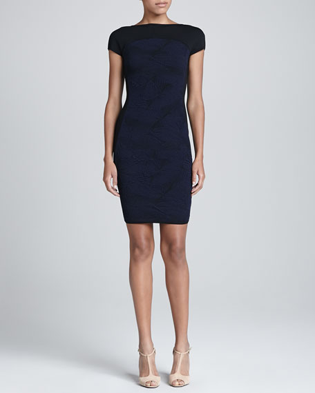 Cap-Sleeve Heavy Jacquard Sheath Dress, Black/Blue