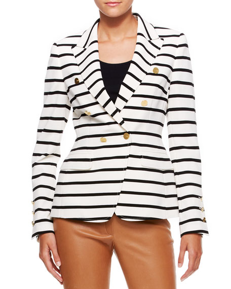 Striped Nautical Blazer, Off White/Black