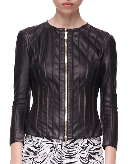 Cutout Zip-Front Leather Jacket, Black
