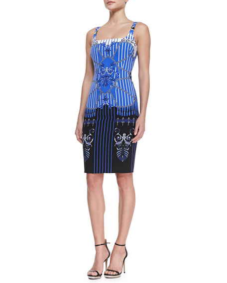 Striped & Baroque-Print Ballerina Sheath Dress, Blue/Black