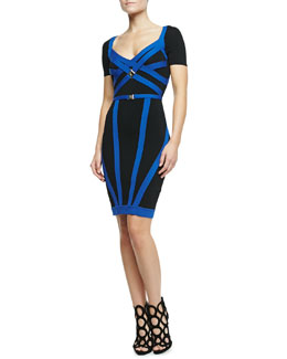 Versace Collection Bonded Stretch Sheath Dress, Black/Blue