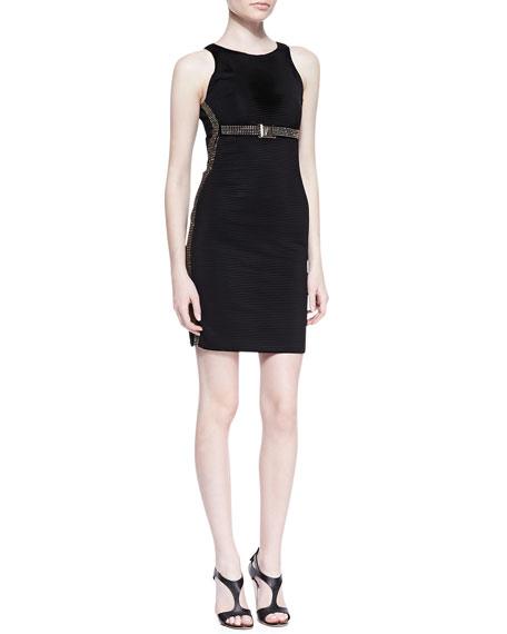 Sleeveless Stretch Sheath Dress with Gold Studs, Black