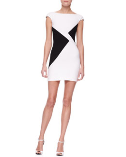 Versace Collection Triangle Colorblock Sheath Minidress, White/Black