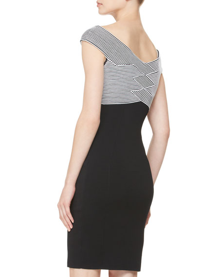 Striped-Bodice Belted Knit Dress, Black/White
