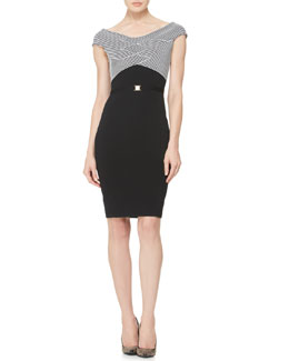 Versace Collection Striped-Bodice Belted Knit Dress, Black/White