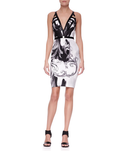Versace Collection Plunging Printed Dress with Leather Straps