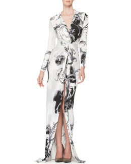 Versace Collection Long-Sleeve Printed Jersey Gown, White/Black