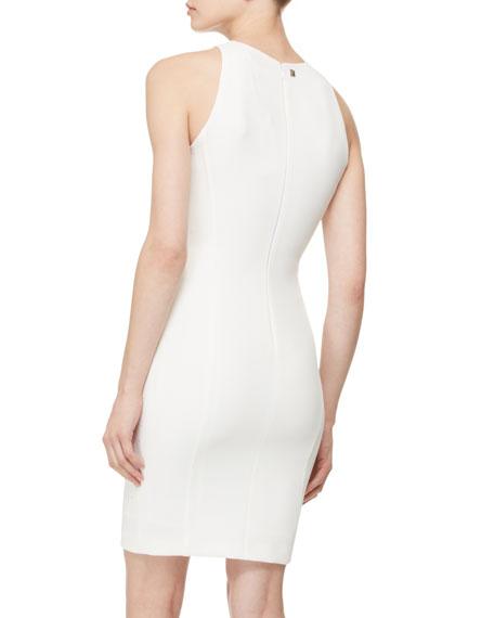 Stud-Embellished Sheath Dress, White