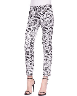 Versace Collection Zebra-Print Jacquard Pants, White/Black