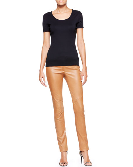 Slim Leather Pants, Cognac