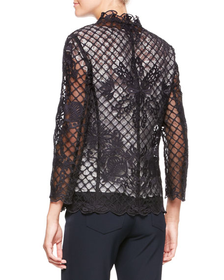 Silk Lace Long-Sleeve Jacket, Black