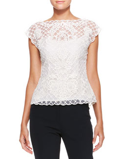Escada Silk Lace Cap-Sleeve Top, Cream